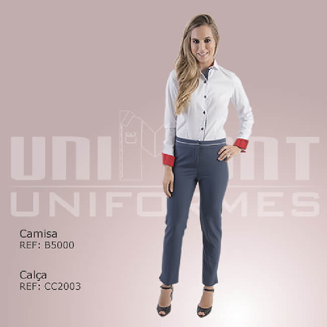 Unimont Uniforme Camisa Branca Calça Azul