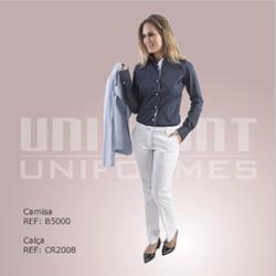Camisa Azul Calça Branca Uniformes Unimont